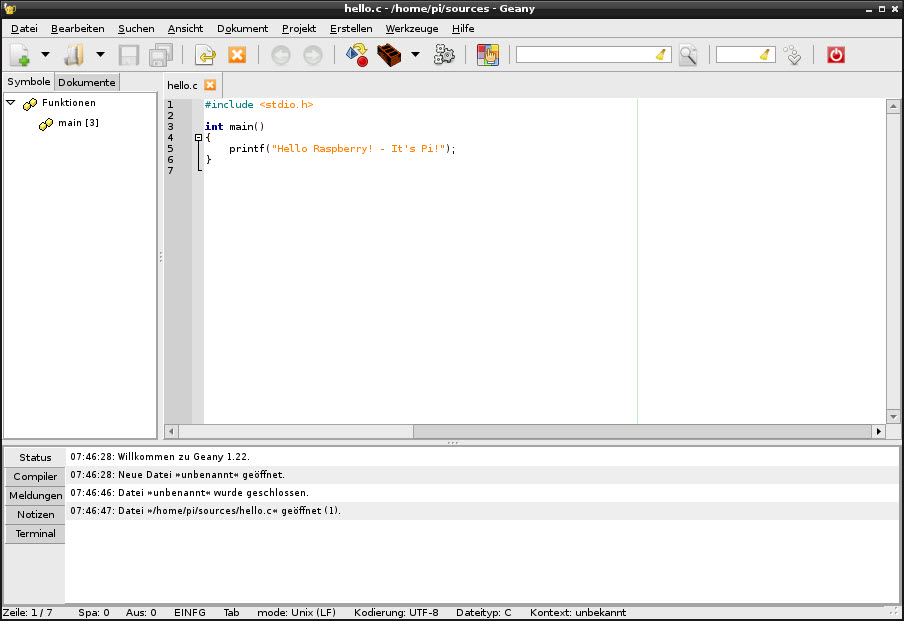 11 - Hello World in Geany